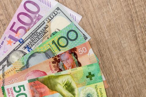 American Dollars European Euro Swiss