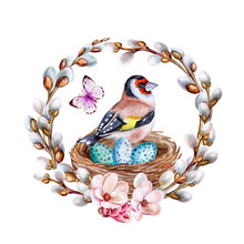Easter Spring Wreath With Flowering Willow. Nest With Eggs. Bird Of A Goldfinch Isolated On White Background. Watercolor. Illustration. Template. Clipart. Close-up. Handmade
