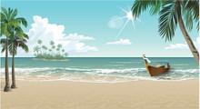 A Boat On A Tropical Beach