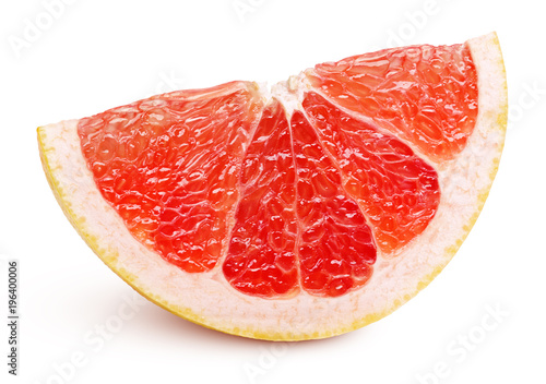 Ripe slice of pink grapefruit citrus fruit isolated on white background with clipping path