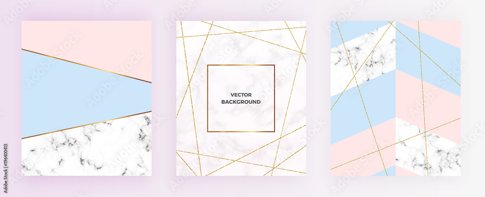 Fototapeta Set cover geometric designs with gold glitter line, cream blue, pastel pink colors and marble texture background. Template for invitation, card, design, banner, wedding, baby shower