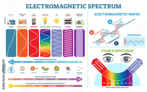 Fotografie, Tablou Full Electromagnetic Spectrum Information collection, vector illustration diagram with wave lengths, frequency and temperature