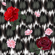 Seamless Pattern With Beautiful Delicate Roses On Background With Abstract Grunge Texture. Flower Background For Textile, Cover, Wallpaper, Gift Packaging, Printing.Romantic Design For Calico, Silk.