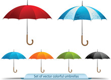 Set Of Vector Colorful Umbrellas