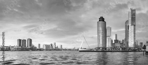 Staande foto Rotterdam City Landscape, black-and-white panorama - view on Erasmus Bridge and district Feijenoord city of Rotterdam, The Netherlands.