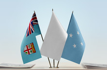 Flags Of Fiji And Federated States Of Micronesia With A White Flag In The Middle
