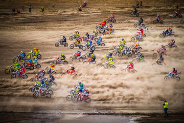 Start of the motocross race