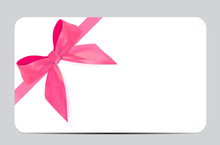Blank Gift Card Template With Pink Bow And Ribbon. Vector Illustration For Your Business
