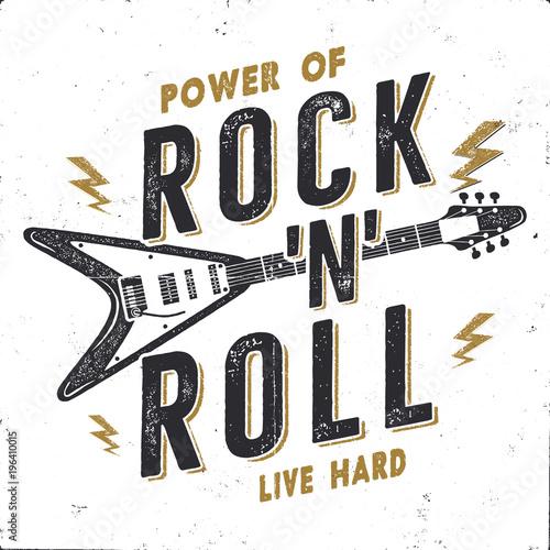Cuadros en Lienzo Vintage Hand Drawn Rock n Roll Poster, Rock Music Poster