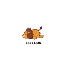 Lazy Lion Icon, Logo Design, V...