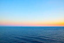 Sea Horizon And Clear At Sundown
