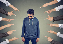 Bullied Man. Public Accusation Concept