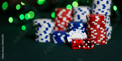 Stacks of poker chips representing a gambling win at a casino or poker or craps game фототапет