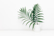 canvas print picture - Minimal empty space, stylish hipster background with green tropical leaves in jar