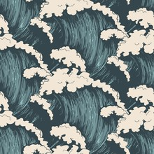 Ocean Waves Seamless Pattern. ...