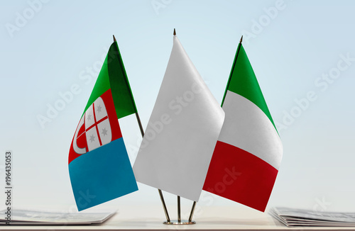 Flags of Liguria and Italy with a white flag in the middle