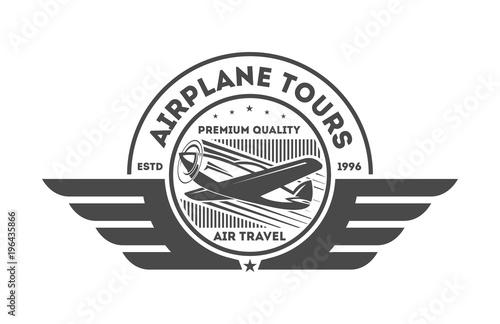 Fotografie, Tablou Airplane vintage isolated label vector illustration