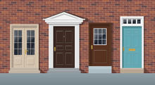 Front Doors Brick Wall House Exterior English Style