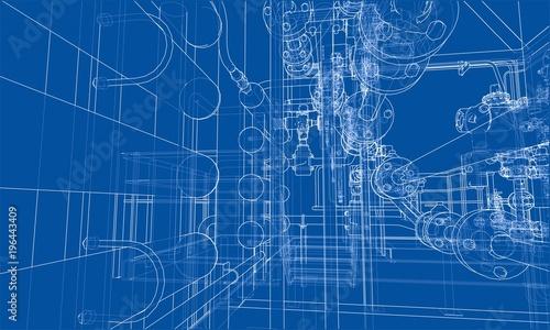 Photographie Sketch industrial equipment. Vector
