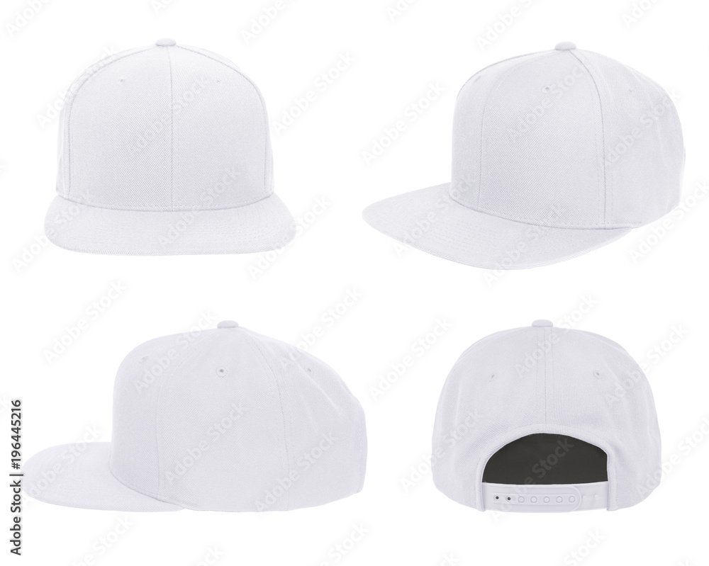 Fototapety, obrazy: Blank cap 4 view color white on white background