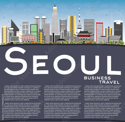 Seoul Korea Skyline with Color Buildings, Blue Sky and Copy Space Poster