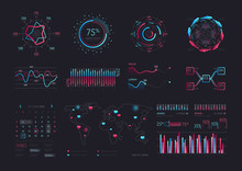 Interface Screen With Data Infographic Digital Illustration. Dashboard Technology Hud Vector Interface And Network Management Data Screen With Charts And Diagrams.