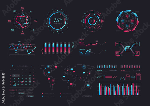 Fotomural Interface screen with data infographic digital illustration
