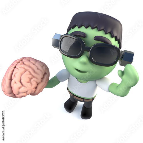 Photo  3d Funny cartoon frankenstein halloween monster holding a brain
