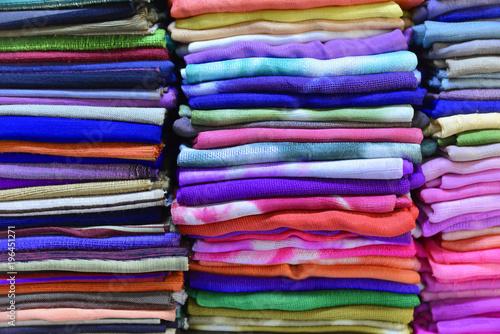 Bunte Stoffe Webarbeiten Inle See Myanmar Buy This Stock Photo