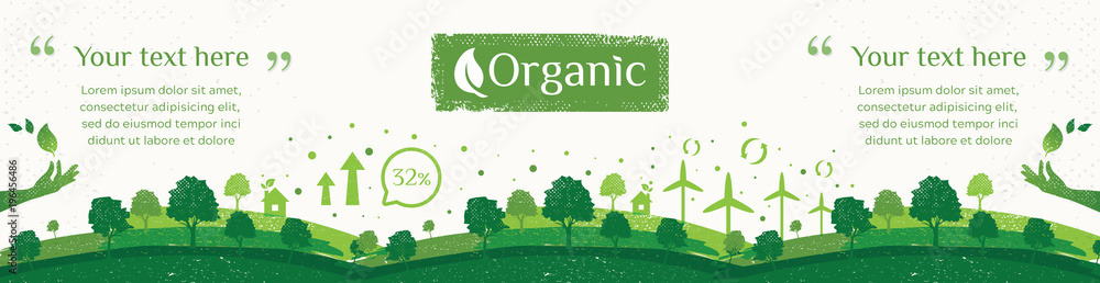 Fototapety, obrazy: Vector of nature, ecology, organic, environment banners. Billboard or web banner of Clean green environment with grunge style