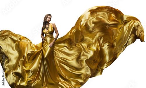 Fototapeta  Fashion Model Golden Fly Dress, Elegant  Woman in Fluttering Gold Gown, Beautifu