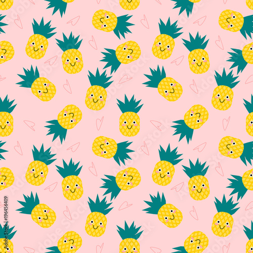 Cute Pineapple On Pink Background Cute Cartoon Character Seamless Pattern Buy This Stock Vector And Explore Similar Vectors At Adobe Stock Adobe Stock