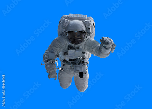 Astronaut isolated on blue background 3D rendering elements of this image furnished by NASA