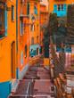 Leinwanddruck Bild - beautiful street scene of nice without people and big stairs