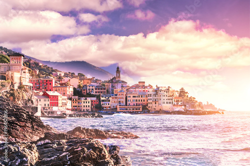 Canvas Prints Athens Scenic view of the Bogliasco at sunset - fishermen's Village of the Ligurian Riviera