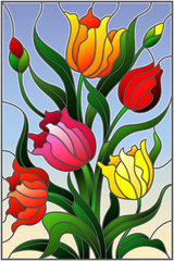 Naklejka Illustration in stained glass style with a bouquet of colorful tulips on a sky background