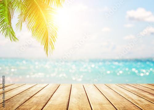 Foto auf Gartenposter Strand Blurred blue sky background