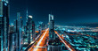 canvas print picture - Dubai Cityscape Night Long Exposure