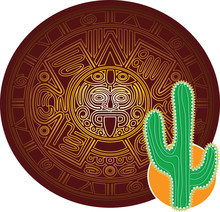 Cactus On Background Of Stylized Image Of Ancient Mayan Calendar.