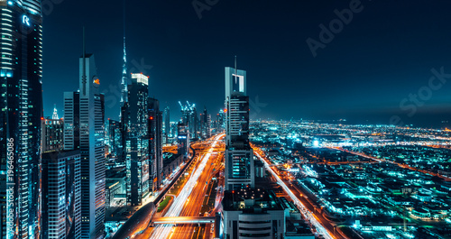 Fotografia, Obraz Dubai Cityscape Night Long Exposure