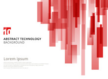 Abstract Technology Vertical Overlapped Geometric Squares Shape Red Colour On White Background With Copy Space.