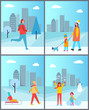 People Walks in Winter with Cityscape Behind Set
