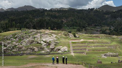 Staande foto Grijze traf. Saqsaywaman temple inca culture. Peru