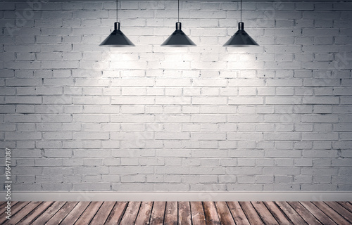 Poster Baksteen muur 3d rendering illustration of big modern empty room with white brick wall and rough wooden floor. Underground showroom. Three metal lamps with directional light. Vintage color correction.