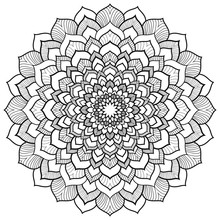 Round Floral Black Mandala For...