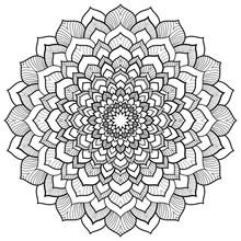 Round Floral Black Mandala For Coloring Book