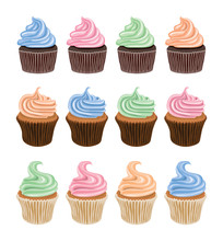 Vector Set Of Colorful Cupcake Icons