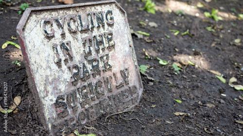 Fotografie, Obraz Cycling Prohibited sign in Chester Grosvenor Park