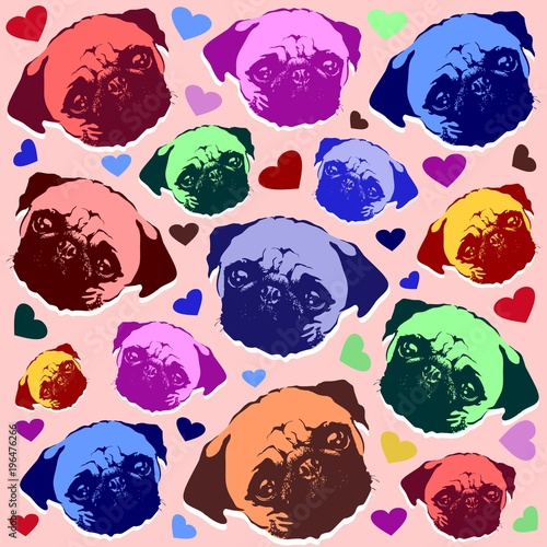 Deurstickers Draw Pug Puppy Dog Love Hearts Pattern