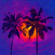 canvas print picture - Dark palms silhouettes